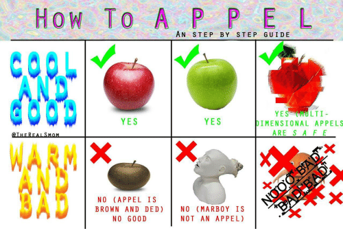 How To, How, and Yes: HoW To A P P E L  AN STEP BY STEP GUIDE  YES MULTI  DIMENSIONAL APPELS  ARE S A FE  YES  YES  @THEREALSMoM  za  NO (APPEL IS  BROWN AND DED) | NO (MARBOY IS  NOT AN APPEL)  NO G00D