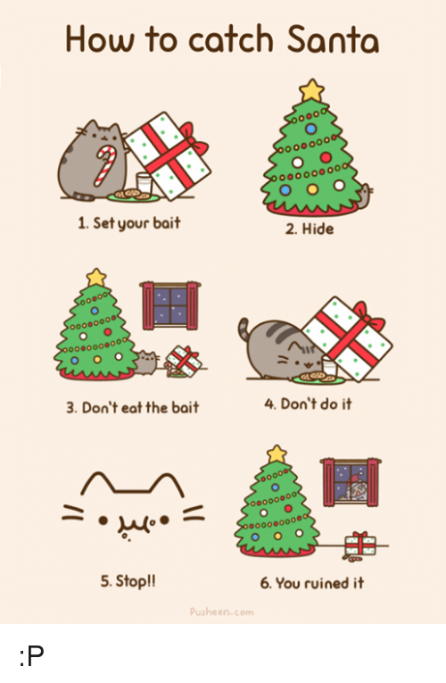 Pusheens: How to catch Santa  oo0000  1. Set your bait  2. Hide  000000ooo  3. Don't eat the bait  4. Don't do it  o000000  5. Stop!!  6. You ruined it  Pusheen.com :P