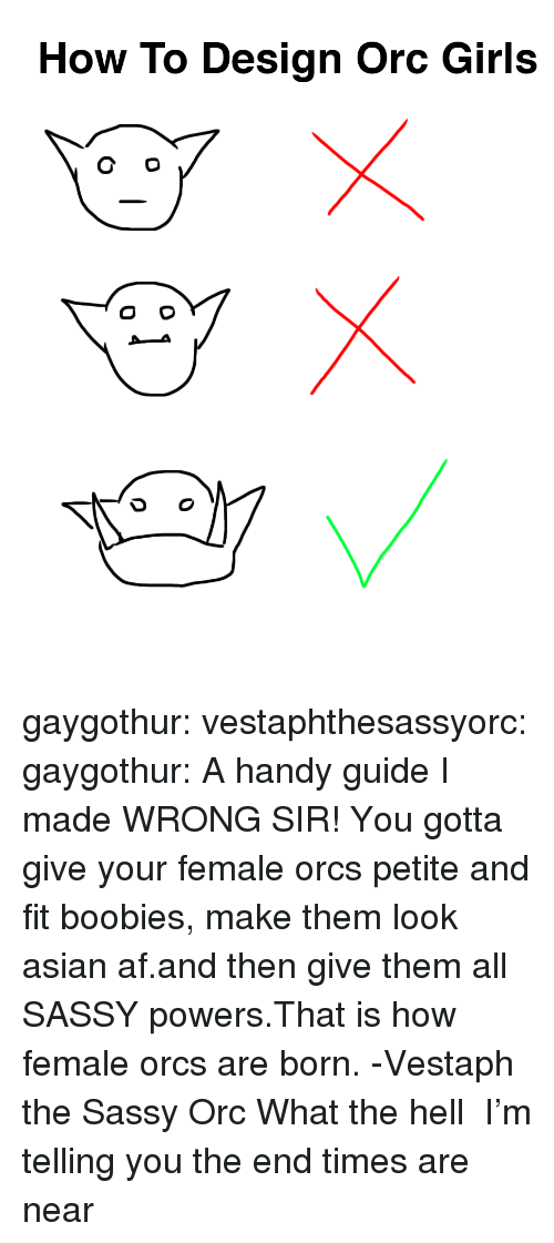 Af, Asian, and Boobies: How To Design Orc Girls gaygothur: vestaphthesassyorc:  gaygothur: A handy guide I made WRONG SIR! You gotta give your female orcs petite and fit boobies, make them look asian af.and then give them all SASSY powers.That is how female orcs are born. -Vestaph the Sassy Orc  What the hell     I'm telling you the end times are near
