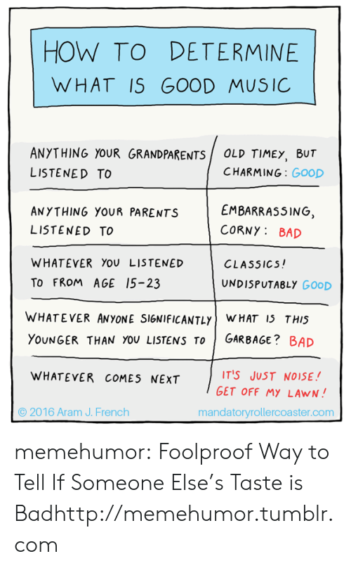 foolproof: HOW TO DETERMINE  WHAT IS  GOOD MUSIC  ANYTHING YOUR GRANDPARENTS  OLD TIMEY, BUT  CHARMING: GooD  LISTENED TO  EMBARRASSING,  ANYTHING YOUR PARENTS  CORNY: BAD  LISTENED TO  WHATEVER You LISTENED  CLASSICS!  To FROM AGE 15-23  UNDISPUTABLY GOOD  WHATEVER ANYONE SIGNIFICANTLYWHAT 15 THIS  GARBAGE? BAD  YOUNGER THAN YOU LISTENS To  IT'S JUST NO ISE !  WHATEVER COMES NEXT  GET OFF MYLAWN!  2016 Aram J. French  mandatoryrollercoaster.com memehumor:  Foolproof Way to Tell If Someone Else's Taste is Badhttp://memehumor.tumblr.com