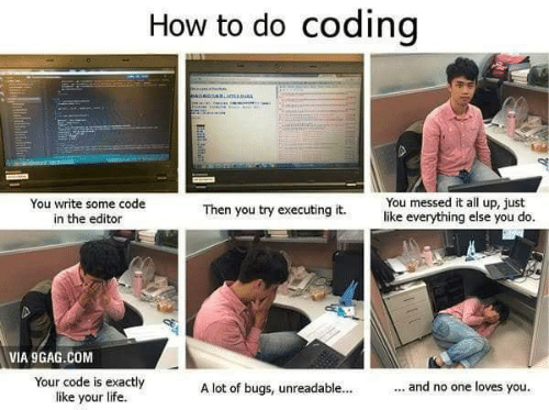 You Do You: How to do coding  sniamaRMA  You messed it all up, just  like everything else you do.  You write some code  in the editor  Then you try executing it.  VIA 9GAG.COM  Your code is exactly  like your life  ... and no one loves you.  A lot of bugs, unreadable...