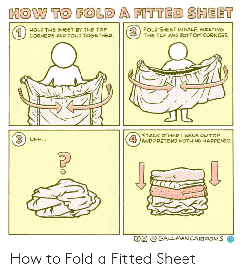 pretend: HOW TO FOLD A FITTED SHEET  2  FOLD SHEET IN HALF, MEETING  THE TOP AND BOTTOM CORNERS  HOLD THE SHEET BY THE TOP  CORNERS AND FOLD TOGETHER  1  STACK OTHER LINENS ONTOP  4AND PRETEND NOTHING HAPPENED.  3UHH...  GALLMANCARTOONS How to Fold a Fitted Sheet