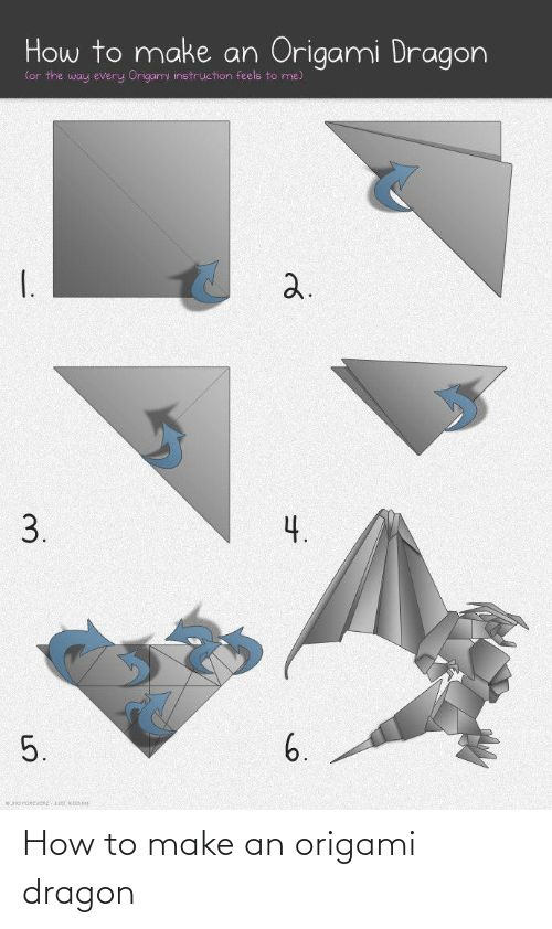 How To, Origami, and How: How to make an Origami Dragon  (or the way every Origami instruction feels to me)  I.  2.  3.  4.  6.  5. How to make an origami dragon