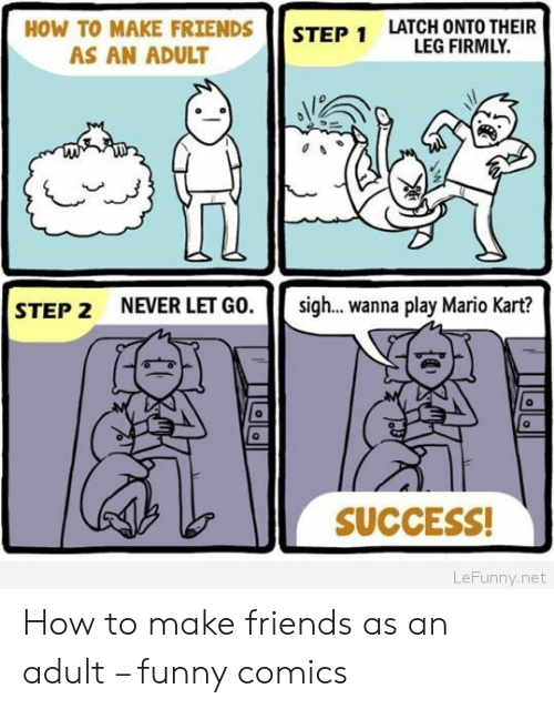 funny comics: HOW TO MAKE FRIENDS  LATCH ONTO THEIR  LEG FIRMLY.  STEP 1  AS AN ADULT  NEVER LET GO.  sig... wanna play Mario Kart?  STEP 2  SUCCESS!  LeFunny.net How to make friends as an adult – funny comics
