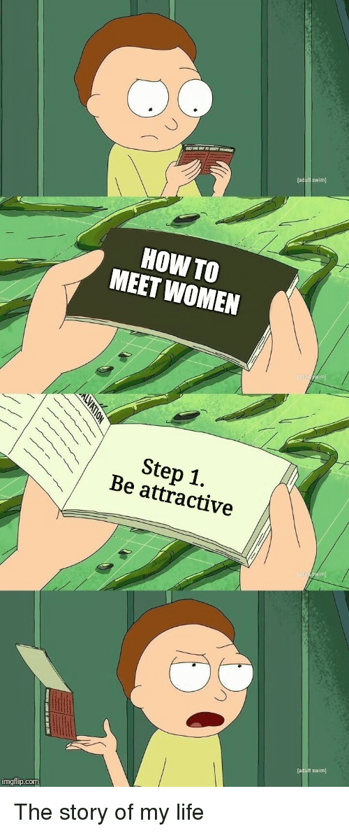 story of my life: HOW TO  MEET WOMEN  Step 1.  Be attractive  (aduit swim)  imgflip.com The story of my life