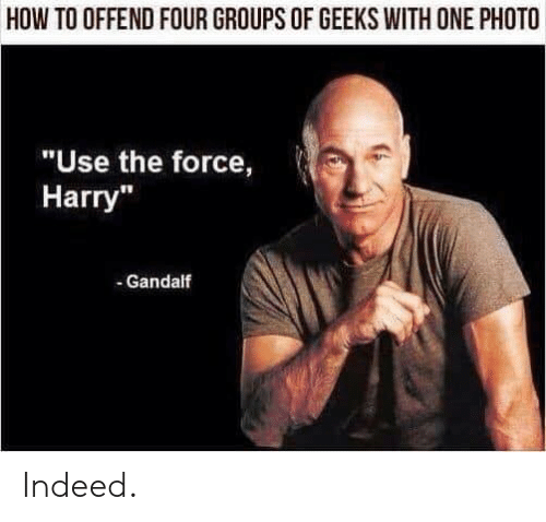 "Gandalf, How To, and Indeed: HOW TO OFFEND FOUR GROUPS OF GEEKS WITH ONE PHOTO  ""Use the force,  Harry""  - Gandalf Indeed."