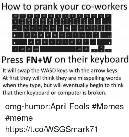April Fools Memes: How to prank your co-workers  1 2356 7890  a WER T Y UO P  Press FN+W on their keyboard  It will swap the WASD keys with the arrow keys.  At first they will think they are misspelling words  when they type, but will eventually begin to think  that their keyboard or computer is broken omg-humor:April Fools #Memes #meme https://t.co/WSGSmark71