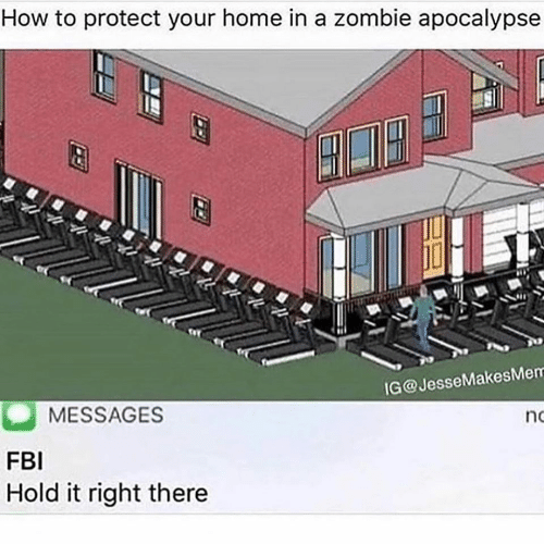 zombie apocalypse: How to protect your home in a zombie apocalypse  IG@JesseMakesMem  MESSAGES  no  FBI  Hold it right there