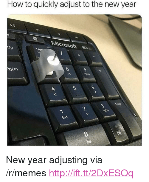 """Memes, New Year's, and How To: How to quickly adjust to the new year  Up  gDn  5  2. <p>New year adjusting via /r/memes <a href=""""http://ift.tt/2DxESOq"""">http://ift.tt/2DxESOq</a></p>"""