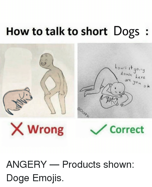 doges: How to talk to short Dogs:  ow's it go.ng  doun eve  ere  art  Jon  o k  uo  wrong  ﹀/ Correct ANGERY   — Products shown: Doge Emojis.