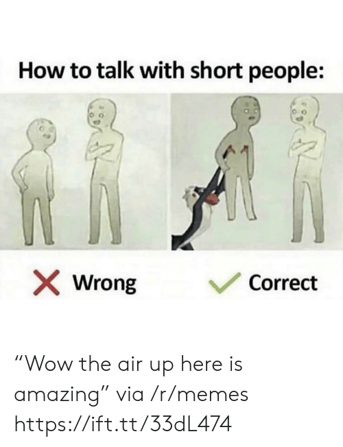 "Air Up: How to talk with short people:  Correct  Wrong ""Wow the air up here is amazing"" via /r/memes https://ift.tt/33dL474"