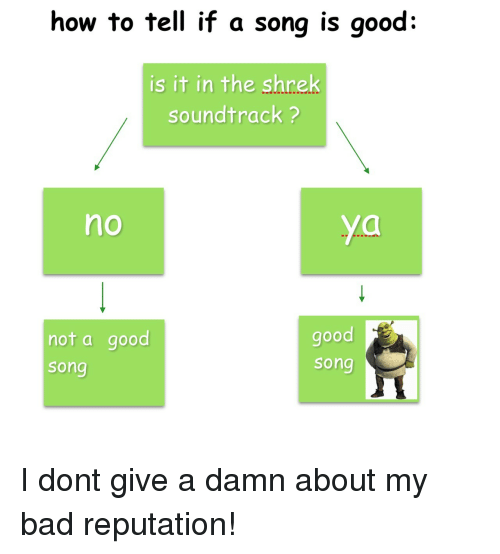 The Shrek: how to tell if a song is good:  is it in the shrek  soundtrack ?  no  not a good  song  good  song I dont give a damn about my bad reputation!