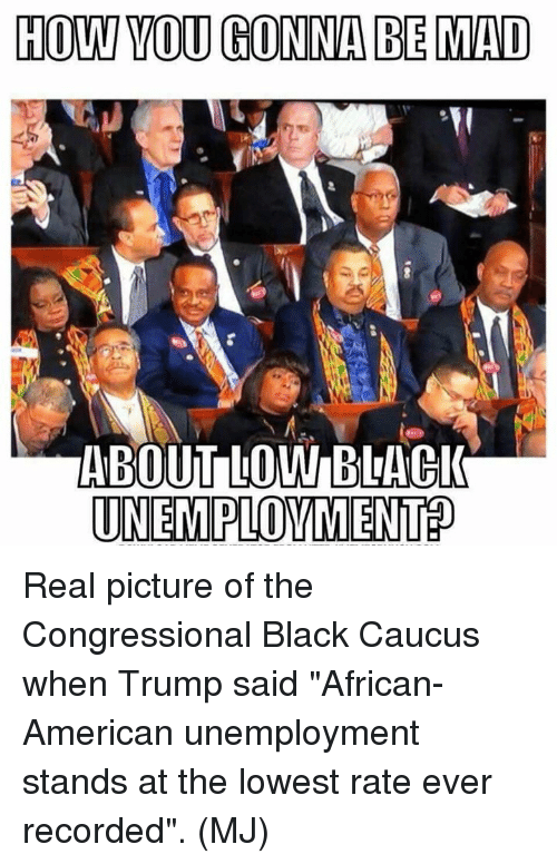 """Memes, American, and Black: HOW VOU GONNA BE MAD  ABOUT LOW BLACl  UNEMPLOVMENT? Real picture of the Congressional Black Caucus when Trump said """"African-American unemployment stands at the lowest rate ever recorded"""". (MJ)"""