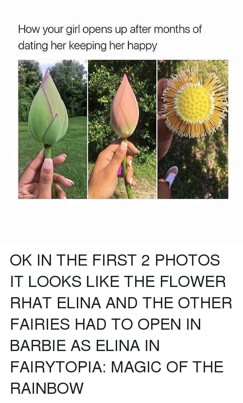 Fairies: How your girl opens up after months of  dating her keeping her happy OK IN THE FIRST 2 PHOTOS IT LOOKS LIKE THE FLOWER RHAT ELINA AND THE OTHER FAIRIES HAD TO OPEN IN BARBIE AS ELINA IN FAIRYTOPIA: MAGIC OF THE RAINBOW