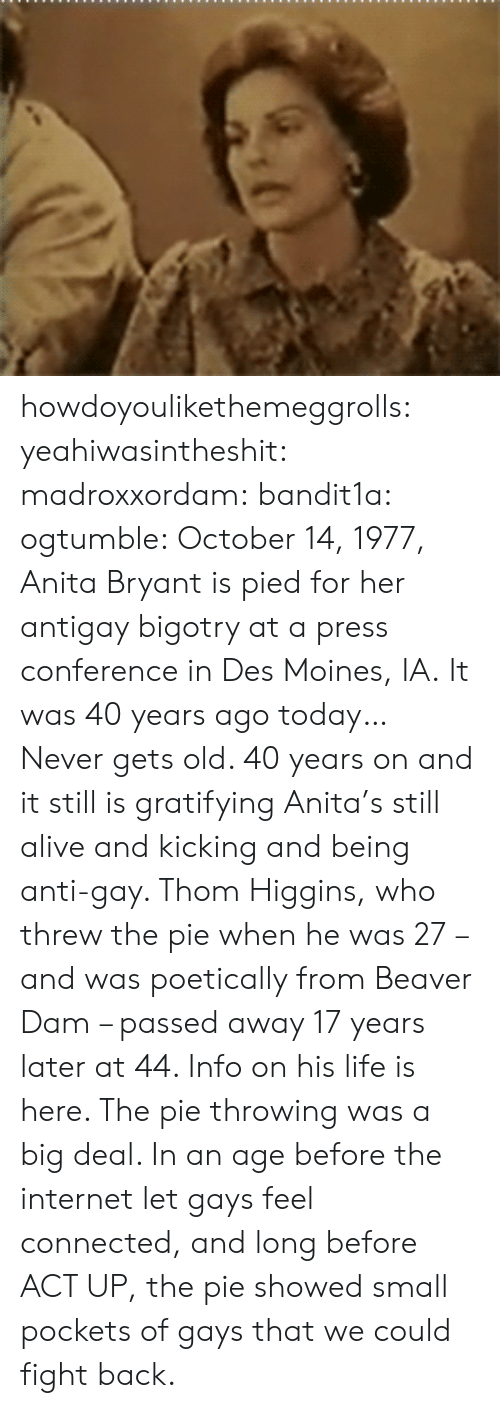 Anita: howdoyoulikethemeggrolls: yeahiwasintheshit:  madroxxordam:  bandit1a:  ogtumble: October 14, 1977, Anita Bryant is pied for her antigay bigotry at a press conference in Des Moines, IA. It was 40 years ago today…   Never gets old.    40 years on and it still is gratifying  Anita's still alive and kicking and being anti-gay. Thom Higgins, who threw the pie when he was 27 – and was poetically from Beaver Dam – passed away 17 years later at 44. Info on his life is here. The pie throwing was a big deal. In an age before the internet let gays feel connected, and long before ACT UP, the pie showed small pockets of gays that we could fight back.