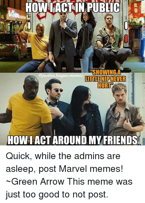 Justice League Meme: HOWL ACT IN PUBLIC  ERSHOWINGLA  justice league memes  LITTLE NIP NEVER  HOWIACT AROUND MY FRIENDS Quick, while the admins are asleep, post Marvel memes! ~Green Arrow This meme was just too good to not post.