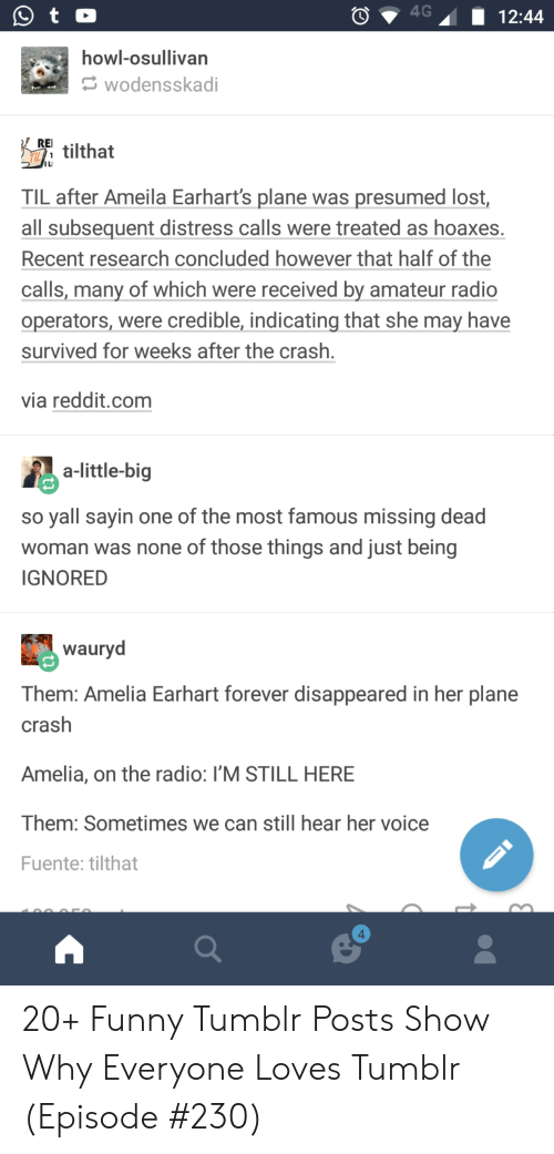Funny, Radio, and Reddit: howl-osullivan  wodensskadi  RFI tilthat  TIL after Ameila Earhart's plane was presumed lost,  all subsequent distress calls were treated as hoaxes.  Recent research concluded however that half of the  calls, many of which were received by amateur radio  operators, were credible, indicating that she may have  survived for weeks after the crash  via reddit.com  a-little-big  so yall sayin one of the most famous missing dead  woman was none of those things and just being  IGNORED  wauryd  Them: Amelia Earhart forever disappeared in her plane  crash  Amelia, on the radio: I'M STILL HERE  Them: Sometimes we can still hear her voice  Fuente: tilthat  4 20+ Funny Tumblr Posts Show Why Everyone Loves Tumblr (Episode #230)