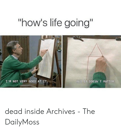 "Dead Inside Meme: ""how's life going""  BUT IT DOESN'T MATTER  I M NOT VERY GOOD AT IT dead inside Archives - The DailyMoss"