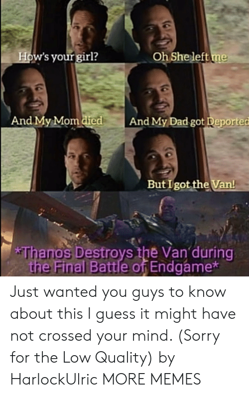Destroys: How's your girl?  Oh She left me  And My Mom died  And My Dad got Deported  But I got the Van!  *Thanos Destroys the Van during  the Final Battle of Endgame* Just wanted you guys to know about this I guess it might have not crossed your mind. (Sorry for the Low Quality) by HarlockUlric MORE MEMES