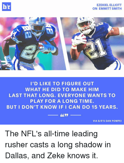 Emmitt Smith: hr  EZEKIEL ELLIOTT  ON EMMITT SMITH  I'D LIKE TO FIGURE OUT  WHAT HE DID TO MAKE HIM  LAST THAT LONG. EVERYONE WANTS TO  PLAY FOR A LONG TIME.  BUT I DON'T KNOW IF I CAN DO 15 YEARS.  VIA BIR'S DAN POMPEI The NFL's all-time leading rusher casts a long shadow in Dallas, and Zeke knows it.