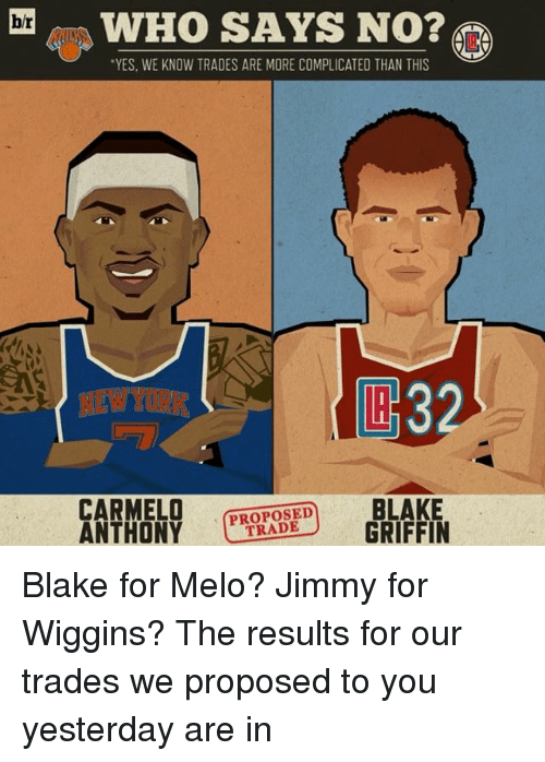 "Sports, Griffin, and Blake: hr  WHO SAYS NO?  ""YES. WE KNOW TRADES ARE MORE COMPLICATED THAN THIS  BLAKE  CARMELO  TRADE  GRIFFIN  ANTHONY Blake for Melo? Jimmy for Wiggins? The results for our trades we proposed to you yesterday are in"