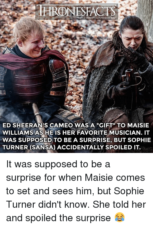 "sophie turner: HRONESFACTS  ED SHEERAN'S CAMEO WAS A ""GIFT"" TO MAISIE  WILLIAMS AS HE IS HER FAVORITE MUSICIAN. IT  WAS SUPPOSED TO BE A SURPRISE, BUT SOPHIE  TURNER (SANSA) ACCIDENTALLY SPOILED IT. It was supposed to be a surprise for when Maisie comes to set and sees him, but Sophie Turner didn't know. She told her and spoiled the surprise 😂"