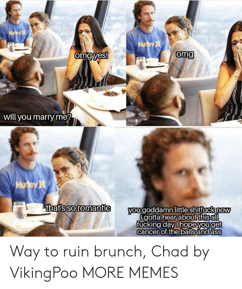 Ruin: Hu ey  Hurey  omg yes!  omg  will you marry me?  Hurey  thats so romantic  you goddamn little shitfuck now  Igotta hearabut this all  fucking day l hopeyouget  cancer of the balls and ass Way to ruin brunch, Chad by VikingPoo MORE MEMES