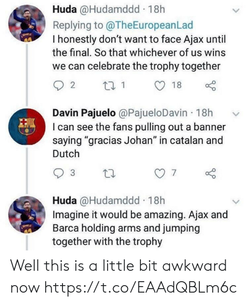 "Memes, Awkward, and Amazing: Huda @Hudamddd 18h  Replying to @TheEuropeanLad  I honestly don't want to face Ajax until  the final. So that whichever of us wins  we can celebrate the trophy together  Davin Pajuelo @PajueloDavin 18h  I can see the fans pulling out a banner  saying ""gracias Johan"" in catalan and  Dutch  7  Huda @Hudamddd 18h  Imagine it would be amazing. Ajax and  Barca holding arms and jumping  together with the trophy Well this is a little bit awkward now https://t.co/EAAdQBLm6c"