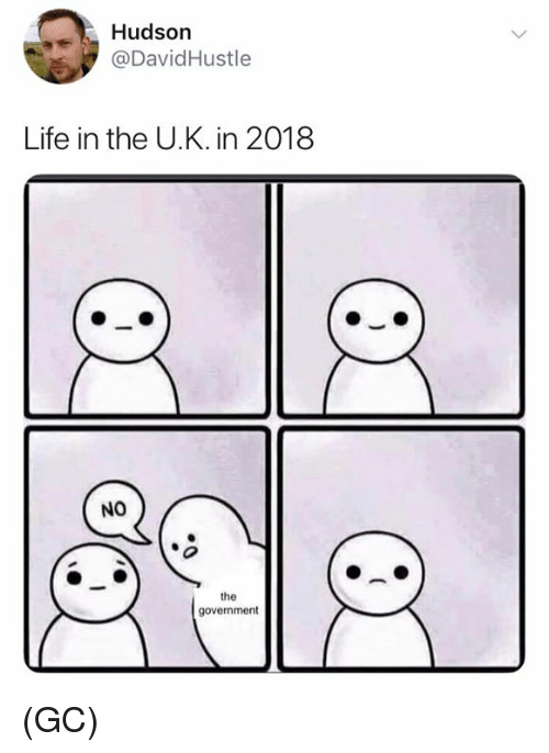 Life, Memes, and Government: Hudson  @DavidHustle  Life in the U.K. in 2018  NO  the  government (GC)