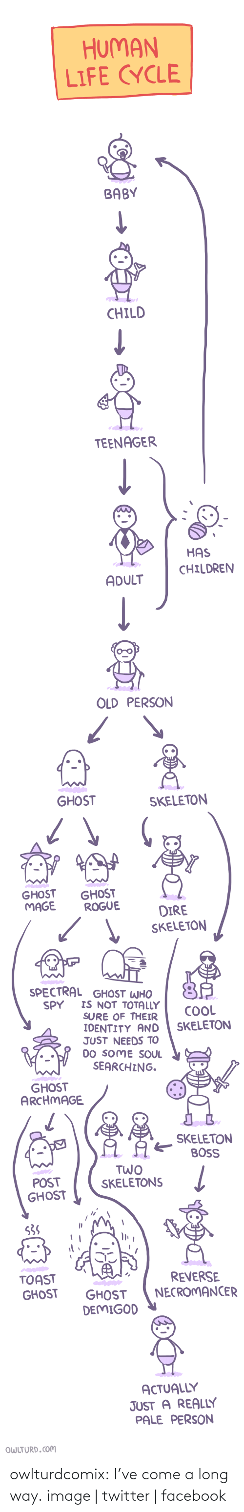 Shenanigansen: HUMAN  LIFE CYCLE  BABY  CHILD   TEENAGER  HAS  CHILDREN  ADULT  OLD PERSON   GHOST  SKELETON  GHOST  MAGE  GHOST  ROGUE  DIRE  SKELETON   SPECTRAL GHOST WHO  IS NOT TOTALLY  SURE OF THEIR  IDENTITY AND  JUST NEEDS TO  DO SOME SOUL  SEARCHING.  SPY  COOL  SKELETON  GHOST  ARCHMAGE  SKELETON  BOSS  TWO   POST  GHOST  SKELETONS  S3S  TOAST  GHOST  REVERSE  NECROMANCER  GHOST  DEMIGOD  ACTUALLY  JUST A REALLY  PALE PERSON  OWLTURD.COM owlturdcomix:  I've come a long way. image | twitter | facebook