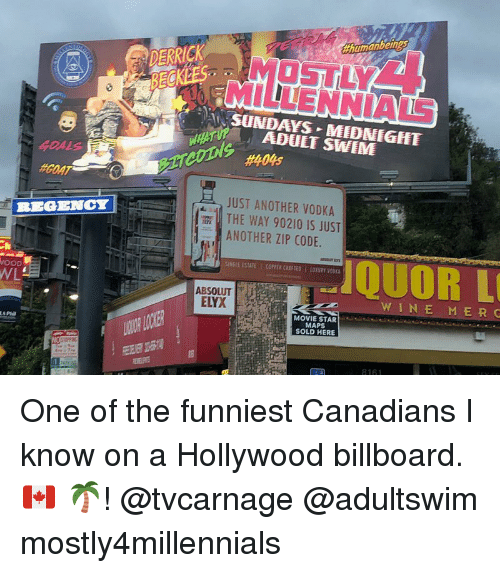 Billboard, Memes, and Goat: humanbein  DERRICK  OSTLY  MILLENNIALS  AN SUNDAYS MIDMEGEET  #404s  #GOAT  JUST ANOTHER VODKA  THE WAY 90210 IS JUST  ANOTHER ZIP CODE.  REGENCY  QUOR L  SINGIE ESTATE 1 COPPER CRAFTED LOTSPY VODIA  ABSOLUT  WINE M ER C  MOVIE STAR  R LONER  MAPS  SOLD HERE One of the funniest Canadians I know on a Hollywood billboard. 🇨🇦 🌴! @tvcarnage @adultswim mostly4millennials