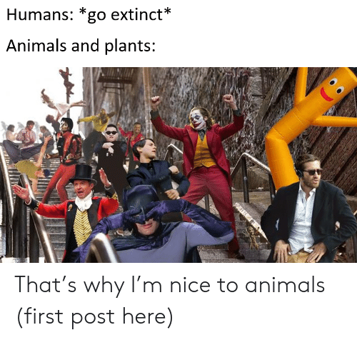 Animals, Nice, and Why: Humans: *go extinct*  Animals and plants: That's why I'm nice to animals (first post here)