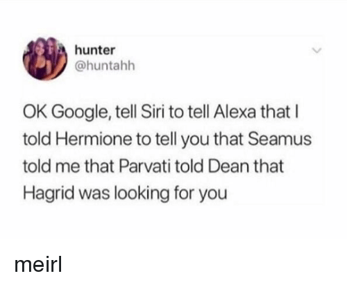 Looking For You: hunter  @huntahh  OK Google, tell Siri to tell Alexa that I  told Hermione to tell you that Seamus  told me that Parvati told Dean that  Hagrid was looking for you meirl
