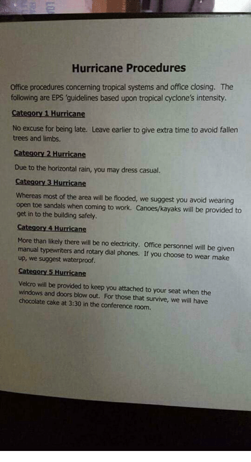 Windows, Work, and Cake: Hurricane Procedures  Office procedures concerning tropical systems and office closing. The  following are EPS 'guidelines based upon tropical cyclone's intensity.  Category 1 Hurricane  No excuse for being late. Leave earlier to give extra time to avoid fallen  trees and limbs.  Category 2 Hurricane  Due to the horizontal rain, you may dress casual.  Ca  Whereas most of the area will be flooded, we suggest you avoid wearing  open toe sandals when coming to work. Canoes/kayaks will be provided to  get in to the building safely  More than likely there will be no electricity. Office personnel will be given  manual typewriters and rotary dial phones. If you choose to wear make  up, we suggest waterproof.  Velcro will be provided to keep you attached to your seat when the  windows and doors blow out. For those that survive, we will have  chocolate cake at 3:30 in the conference room.