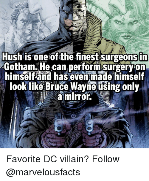 Wayned: Hush is one of the finest surgeonsin  Gotham. He can performsurgeryon  himself and has even made himself  look like Bruce Wayne using only  a mirror. Favorite DC villain? Follow @marvelousfacts