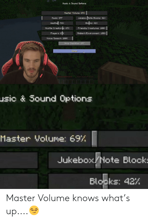 Music, Weather, and Creatures: Husic & Sound Options  Master Volume: 69%  Note  Music: OFF  Blocks: 36%  Jukebox  Weather: 53%  Blooks: 42%  Hostile Creatures: 67%  Friendly Creatures: 1007  Ambient/Environment: 108%|  Players: 67  Woice/Speech: 100%  Shou Subtitles: OFF  Done  usic & Sound Options  Master Volume: 69%  Jukebox Note Blocks  Blooks: 42% Master Volume knows what's up....😏
