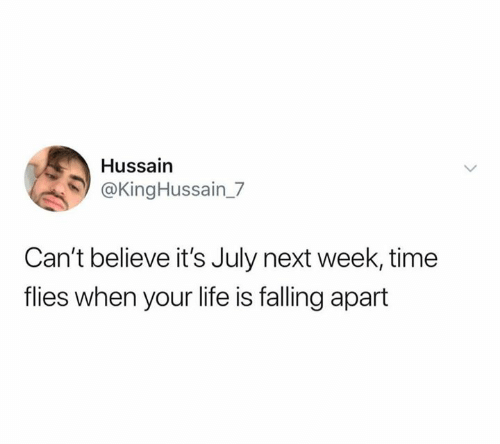 Life, Time, and Next: Hussain  @KingHussain_7  Can't believe it's July next week, time  flies when your life is falling apart