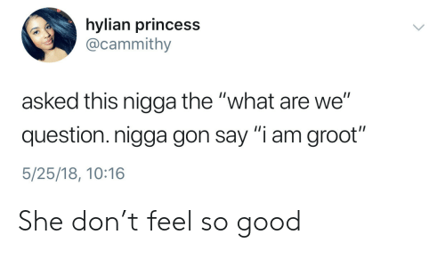 "Good, Princess, and Gon: hylian princess  @cammithy  asked this nigga the ""what are we""  question. nigga gon say ""i am groot""  5/25/18, 10:16 She don't feel so good"