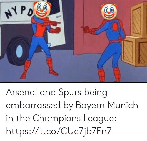 Bayern: HYPO Arsenal and Spurs being embarrassed by Bayern Munich in the Champions League: https://t.co/CUc7jb7En7