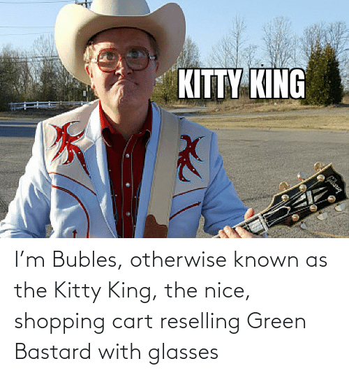 otherwise: I'm Bubles, otherwise known as the Kitty King, the nice, shopping cart reselling Green Bastard with glasses