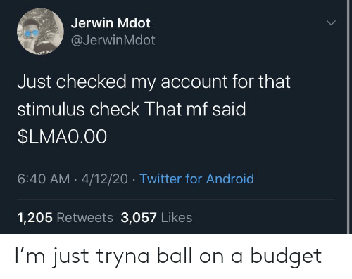 Tryna: I'm just tryna ball on a budget