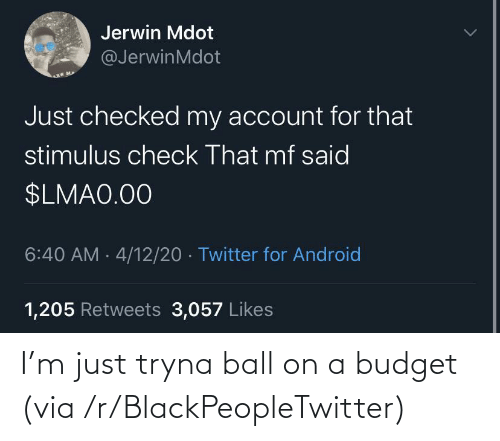 Tryna: I'm just tryna ball on a budget (via /r/BlackPeopleTwitter)
