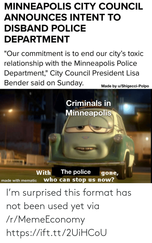 surprised: I'm surprised this format has not been used yet via /r/MemeEconomy https://ift.tt/2UiHCoU