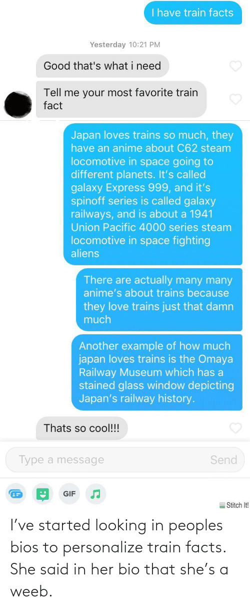 Train: I've started looking in peoples bios to personalize train facts. She said in her bio that she's a weeb.
