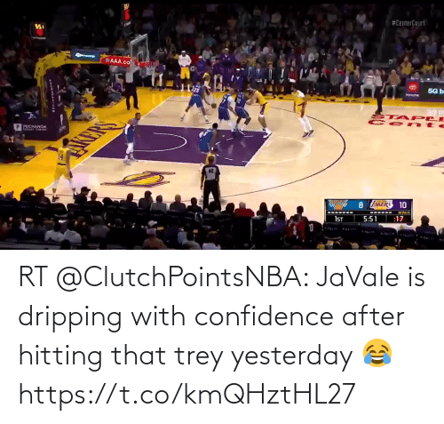 Akers: I$5.  #CenterCourt  SSI  AAA.co  5G b  25  TOYOTA  STA PLE  Ce nte  P PECHANGA  AKERS 10  BONUS  :17  5:51  1ST RT @ClutchPointsNBA: JaVale is dripping with confidence after hitting that trey yesterday 😂 https://t.co/kmQHztHL27