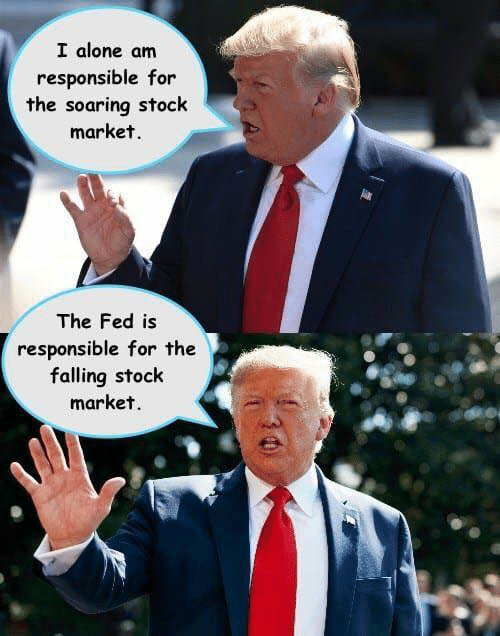 Stock Market: I alone am  responsible for  the soaring stock  market.  The Fed is  responsible for the  falling stock  market