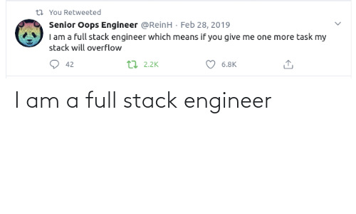 stack: I am a full stack engineer