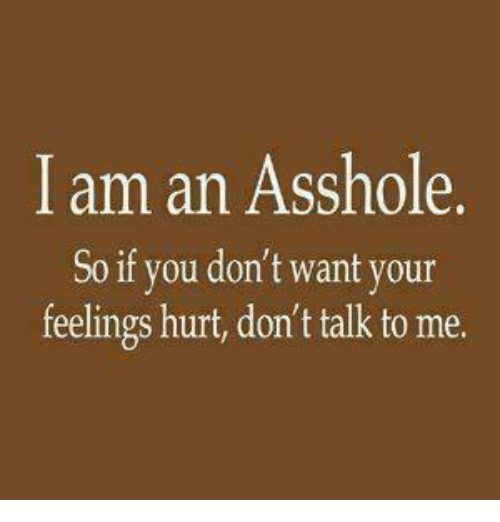 Hurtfully: I am an Asshole.  So if you don't want your  feelings hurt, don't talk to me.