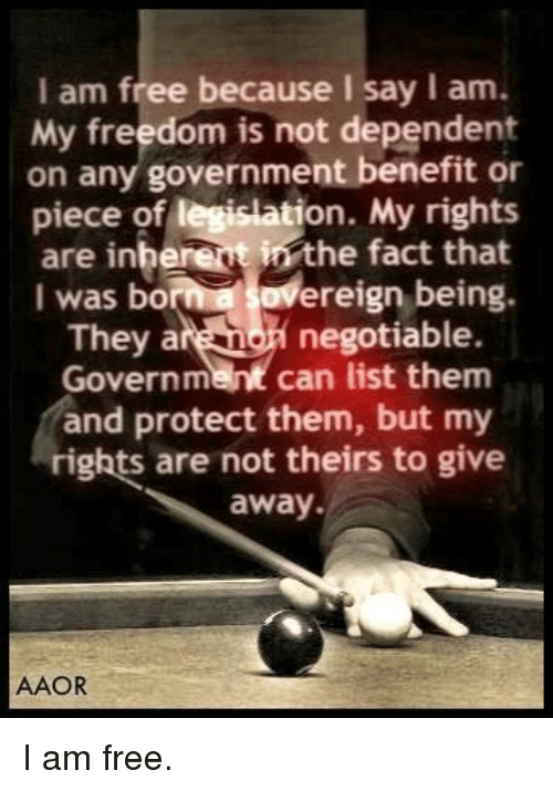 Free, Freedom, and Government: I am free because I say I am.  My freedom is not dependent  on any government benefit or  piece of legislation. My rights  are inherent in the fact that  I was bornovereign being.  They a  negotiable.  Government can list them  and protect them, but my  rights are not theirs to give  away  AAOR I am free.