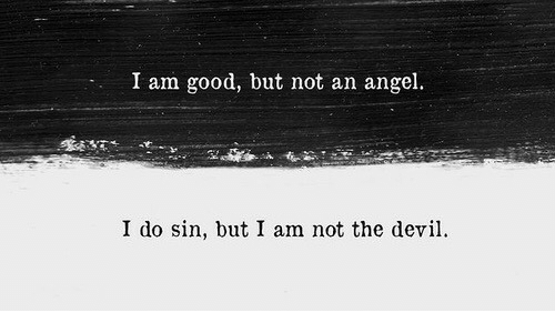 Angel, Good, and Sin: I am good, but not an angel.  す  I do sin, but I am not the devi